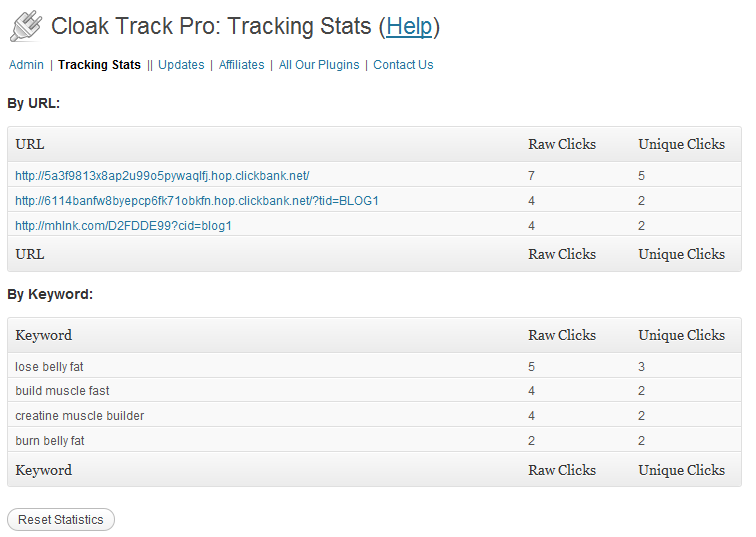 cloak track pro tracking stats screenshot